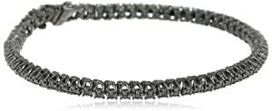 Black Rhodium Sterling Silver Black Diamond Tennis Bracelet (1 Cttw), 7