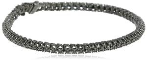 Black Rhodium Sterling Silver Black Diamond Tennis Bracelet (1 Cttw), 7