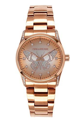 Zadig Voltaire ZV &011S/2TM Rock Women's Quartz Analogue Watch-Pink Face-Pink-Plated Steel Bracelet