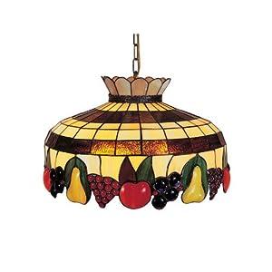 Dale Tiffany 3092/3LTA Fruit 3-Light Hanging Light Fixture, Antique Brass and Art Glass Shade