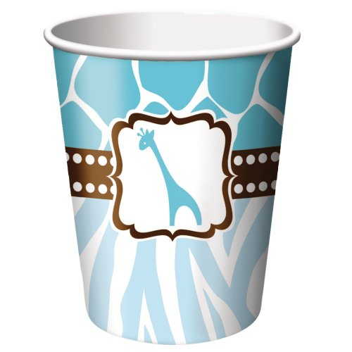 Creative Converting Baby Shower Wild Safari Blue 8 Count Paper Cups, 9-Ounce