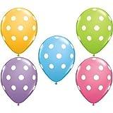 "Big Polka Dot White Spots Spring Assorted 11"" Latex Balloons x 5"