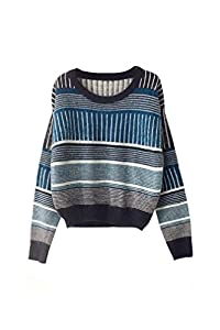Oasap Women's Pinstripe Mohair Round Neckline Long Sleeves Pullover Sweater