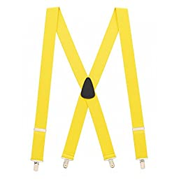 Suspender Store Mens Yellow Suspenders - 1.5 Inch Wide Clip 42 IN Yellow