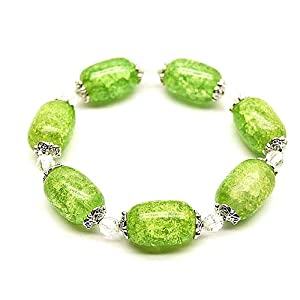 Crackle Green Amber Glass Bead Stretch Bracelet