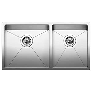Blanco 519550 Quatrus R15 Under Mount Equal Double Bowl Kitchen Sink, Large, Stainless Steel