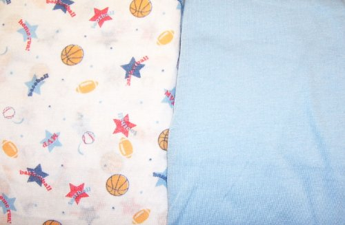 Snugly Baby Fitted Crib Or Toddler Bed Sheet - 2 Pack -Sports Print & Blue