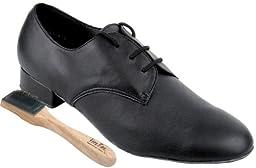 Very Fine Men\'s Salsa Ballroom Tango Latin Dance Shoes Style 916103 Bundle with Dance Shoe Wire Brush, Black Leather 10 M US Heel 1 Inch