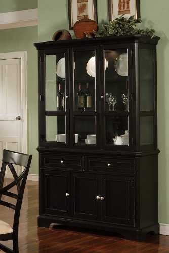 Cheap Contemporary Design Black Finish Buffet with Hutch (VF_101274)