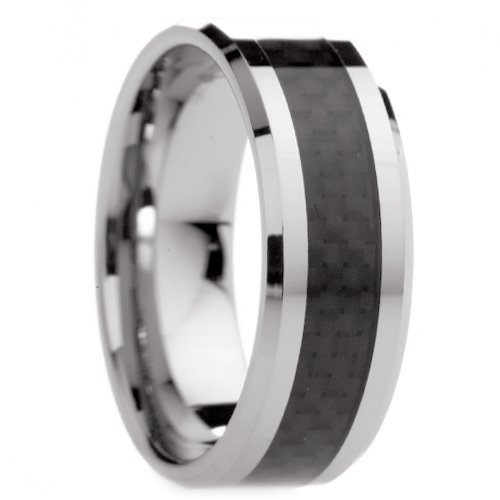 8 Mm Mens Tungsten Carbide Rings Wedding Bands With Black Carbon Fiber - Free Engraving, Free Shipping & Lifetime Warranty - Size 6, 6.5, 7, 7.5, 8, 8.5, 9, 9.5, 10, 10.5, 11, 11.5, 12, 12.5, 13, 13.5