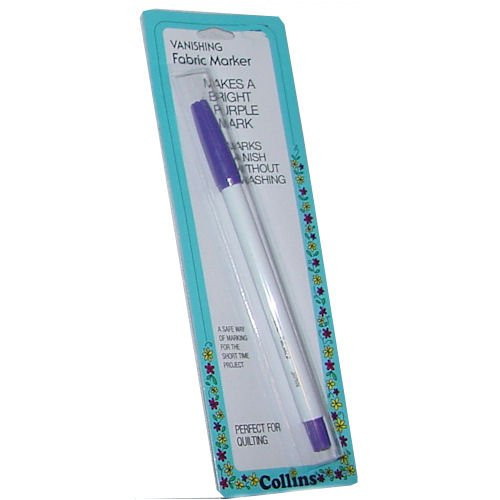 Collins vanishing disappearing ink fabric marker makes bright purple mark