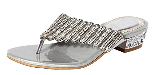honeystore-womens-layered-rhinestone-sheepskin-flat-heel-sandals-silver-85-bm-us