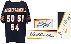 Dick Butkus, Mike Singletary, Brian Urlacher Signed Navy Custom Monsters of the Middle Jersey