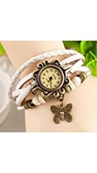 Gadgetbucket Vintage Retro Beaded White color Bracelet Leather women wrist watch Band