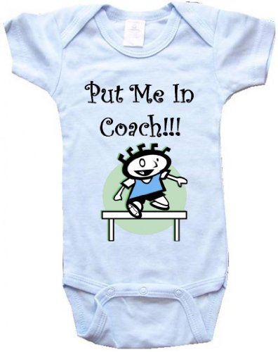 buy PUT ME IN COACH - Athletics / Track Design - BigBoyMusic Baby Designs - Blue Baby One Piece Bodysuit - size Small (6-12M) for sale
