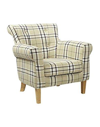 Shankar Pittsburgh Check Fabric Armchair, Size: H 78cm, W 78cm, D 76cm