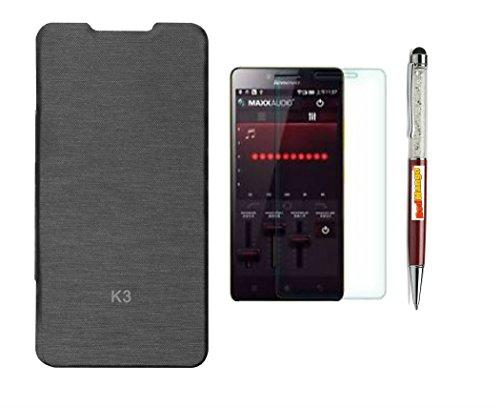RedMango Flip Cover Case for Lenovo A6000 - Black + Screen Protector + RedMango Crystal Diamond Touch Screen Stylus Pen