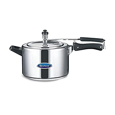 Bestech Induction Base Aluminium Pressure Cooker, 5 Litres, Silver & Black