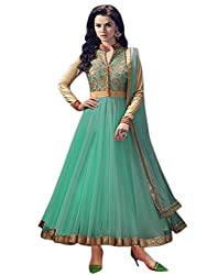 OMSAI FASHION Women's green net Embroidery semi stitched Free Size Salwar Suit (Women's green Indian Clothing )