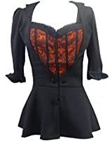 Gothic Victorian Lolita Sweetheart Black & Red Bustier Corset Top Blouse or Mock Jacket. Sizes 8-30