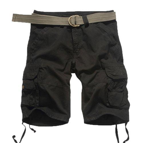 HEMOON Herren Savage Gladiator Cargo Shorts Bermudas Vintage Cargohose Knielang Schwarz W32