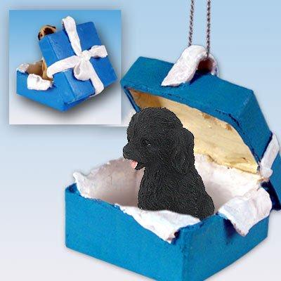 Cockapoo Black Gift Box Blue Ornament