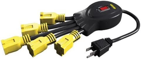 Stanley 31500 Power Squid with 5-Grounded Outlets BlackYellow