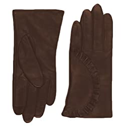 Echo Design Women's Echo Touch Ruffle Leather Gloves, X-Large, Coffee