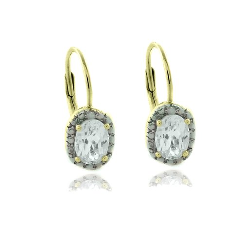 18k Gold Overlay Diamond Accent White Topaz April Birthstone Leverback Earrings