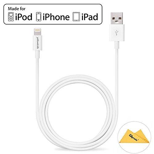 Yellowknife Apple認証 (Made for iPhone取得)lightning ケーブル ライトニングコード充電器 コンパクト端子 高耐久、断線にくい iPhone SE/6 / 6 Plus / 5S / 5C / 5, iPad Air / Air 2、iPad mini / mini 2 / mini 3、iPad 第4世代、iPod nano 第7世代、iPod touch 第5世代に対応 ホワイト1m+OAprodaクロス付き13ヶ月の品質保証