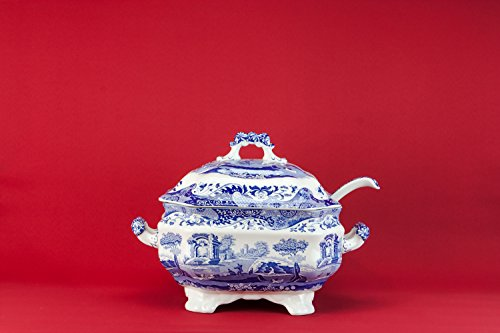 Pottery Vintage Spodes Italian Landscape Spode Serving TUREEN Dinner Retro Charming Blue English Late 20th Century LS (Italian Pottery Urn compare prices)