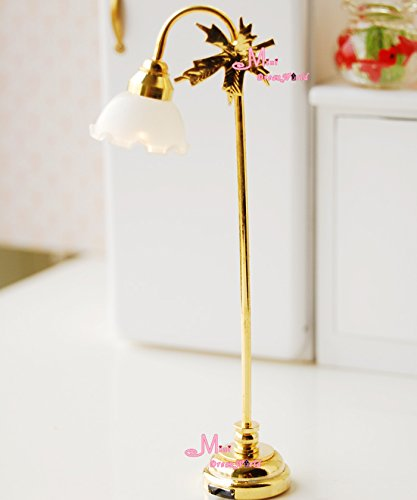 1/12 Dollhouse Miniature Self-Control W/Battery Gold Leaf Led Floor Lamp Light