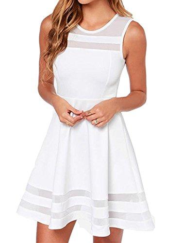 Tengfu Women's Sweet Elegent Sleeveless Sheer Mesh Slim Flare Party Dress White