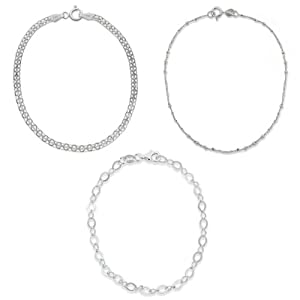 Sterling Silver Set of Three: Bismarck, Flat Open-Oval Link and Thin Twisted Bar- and -Bead Link Chain Bracelets, 7