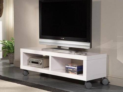 tv rack fernsehregal auf rollen wei hochglanz tv m bel online shop. Black Bedroom Furniture Sets. Home Design Ideas