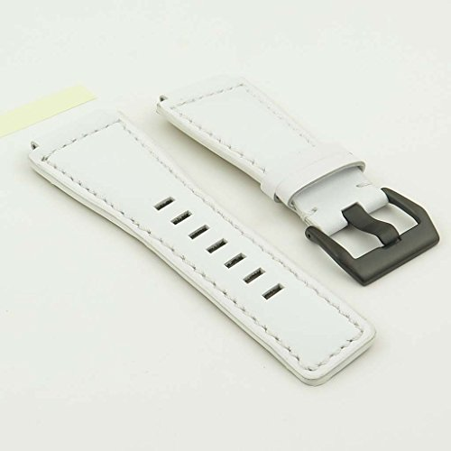 StrapsCo White Genuine Leather Watch Band for Bell & Ross w/ Matte Black Buckle 24mm