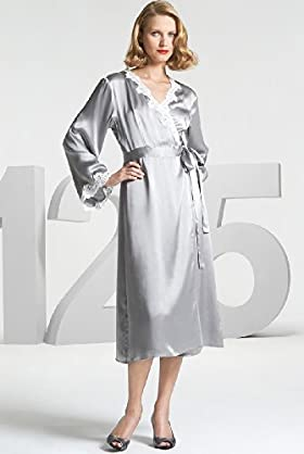 125 Years Autograph Pure Silk Lace Trim Dressing Gown - Marks & Spencer