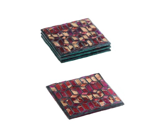 Shiraleah Slimane Glass Mosaic Coasters, 4 by 4 by 1-Inch, Ruby Red, Set of 4