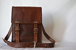 Passion leather 11 Inch Handmade Standing Ipad Leather Messenger Satchel Bag by Passion Leather