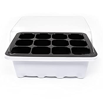 KORAM 10 Set Seed Tray Seedling Starter Trays Plant Grow Starting Germination Kit Greenhouse Grow Trays with Dome and Base 120 Cells, Plant Tags (10 Trays, 12 Cells Each) for Seedling, Flower, Garden