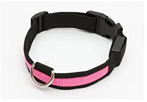 bd® Hundehalsband LED Leucht- und Reflexionsstreifen, blinkend-leuchtend, Leuchthalsband, robust, wasserfest, Größe S Farbe: Pink (S)