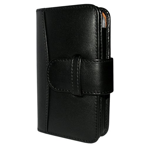 Great Sale Apple iPhone 5 / 5S Piel Frama Black Leather Wallet