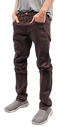 Mens Color Skinny Jeans (30/30, Brown)