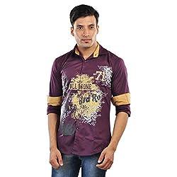 CREEDS Men's Maroon Cotton Casual Shirt(Medium)
