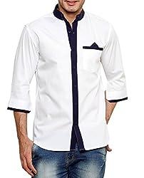 Dazzio Men's Slim Fit Cotton Casual Shirt (DZSH0902_White_44)