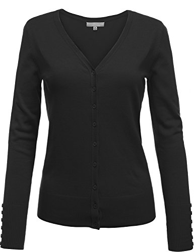 Button Front V-Neck Long Sleeve Soft Cardigan Tops,007-Black,US S