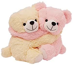 Dimpy Stuff Dimpy Stuff Lovable Pink and Cream Bear Couple Soft Toy, Pink
