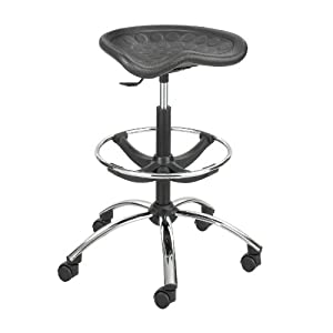 Safco Products SitStar Stool with Chrome Base, Black, 6660BL