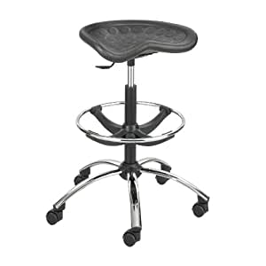 Safco Products 6660BL SitStar Stool Chrome Base for use with SitStar Back (sold separately), Black