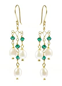 Gold Plated Sterling Silver White Freshwater Cultured Pearl and Emerald Crystallized Swarovski Elements Bicone Bead Chandelier Earrings